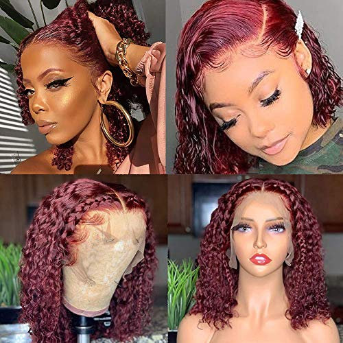 99J Lace Front Bob Wig Curly Wigs For Black Women Wet And Wavy Brazilian Remy Hair Unprocessed Human Hair Wigs Pre Plucked With Baby Hair Transparent Lace Wigs With Natural Hairline Wine Red 14Inch