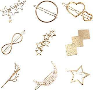 Women Lady Girl Gold Minimalist Bowknot Oval Circle Moon Star Pearl Hair  Clip Snap Barrette Comb 1c864f23c1d0