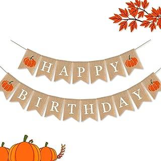 SWYOUN Jute Burlap Happy Birthday Banner with Pumpkin Birthday Party Bunting Garland Supplies