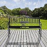 Relaxdays Gartenbank mit Klapptisch, 3-Sitzer, integrierte Tischablage, wetterfest, HxBxT 90 x 150 x 57,5 cm, schwarz - 7