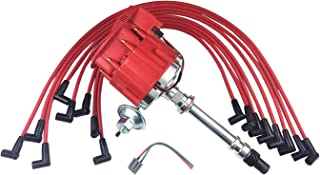 A-Team Performance Super HEI Distributor Red Cap and Spark Plug Wires Set Red 8mm Over Valve Cover Kit Compatible with SBC Chevy Small Block Chevrolet 350