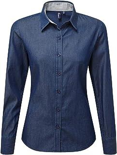Premier Womens/Ladies Long Sleeve Denim-Pindot Shirt