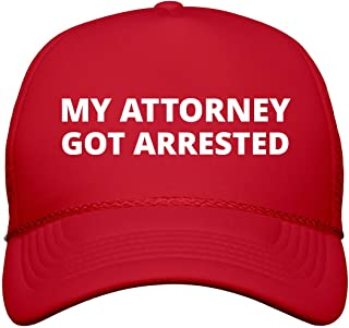 FunnyShirts.org My Attorney Got Arrested Hat: Snapback Trucker Hat Red