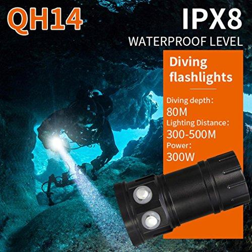huichang Tauchlampe Unterwasser Taschenlampe, Super Hell 80m Wasserdicht LED TaucherLampe für Video (QH14)