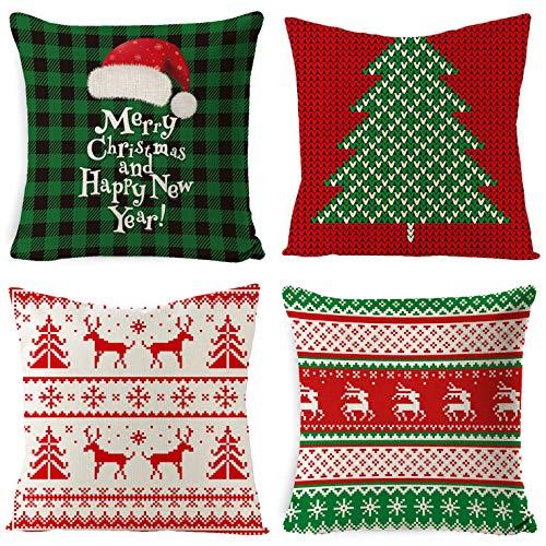 UMIPUBO - Set di 4 federe per cuscino natalizie, in cotone, con fiocchi di neve, per auto, camera da letto, decorazione per la casa