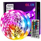 Volivo 65.6ft Led Strip Lights, RGB Color Changing Led Lights for Bedroom with 44 Keys Remote for Room, Party, Home Decoration