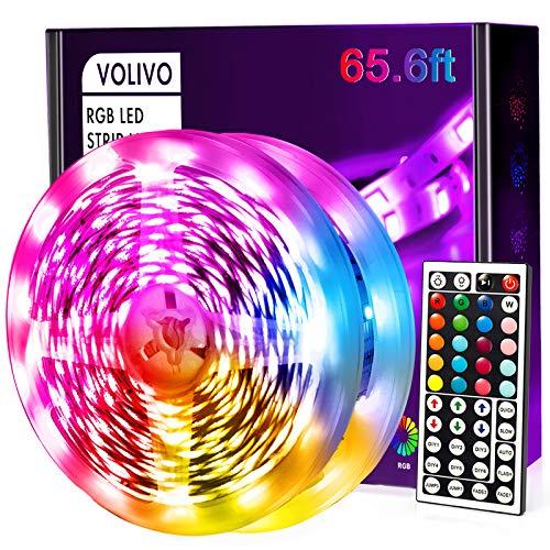 Volivo 656ft Led Strip Lights RGB Color Changing Led Lights for Bedroom with 44 Keys Remote for Room Party Home Decoration