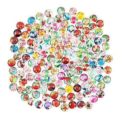 PandaHall Cabujones de cristal de 70 estilos autoadhesivos, de 12 mm, con mosaico, de cristal impreso, cabujones semiredondos, para 12 mm