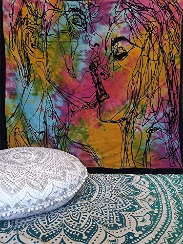 ICC Hombres Mujeres Beso Tapiz Colgante de pared Pareja Besándose Boceto abstracto Amantes del arte Decoración del dormitorio Sala de estar Decoración del dormitorio Hippie Hombre Mujer Tapices p