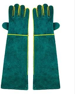 抗咬傷動物取扱い手袋、牛革耐久性のあるスリーブアンチスクラッチ肥厚レザー超ロンググローブハンドプロテクター用ハチ猫犬ヘビオウムトカゲ野生爬虫類動物,Green,58cm