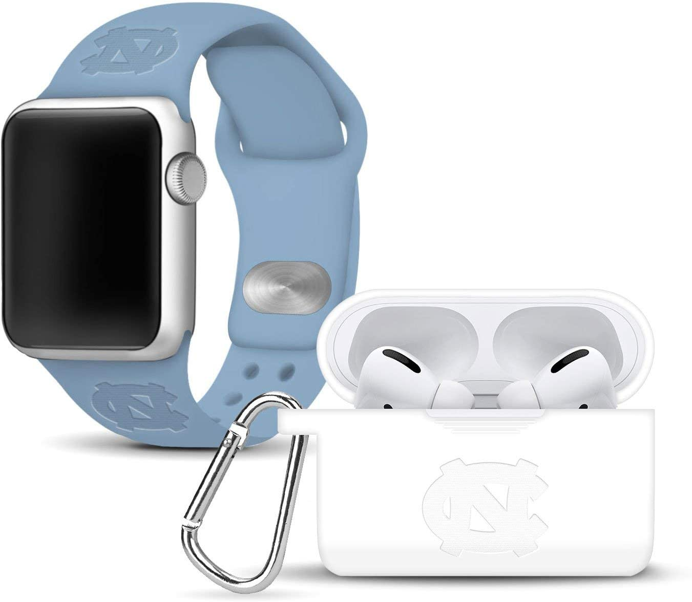 AFFINITY BANDS North Carolina Tar Heels Debossed Watch Band & Case Cover Combo Package Compatible with Apple Watch and AirPods PRO 38mm/40mm Light Blue/White