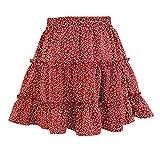 Sanahy Las mujeres de la moda floral impreso en capas de volantes playa mini falda de cintura alta casual Bohemia corta falda plisada