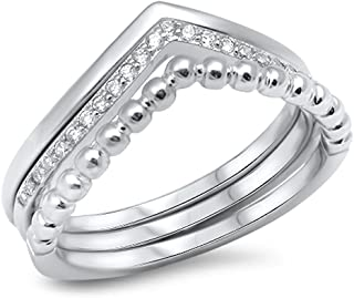 Chevron Set White CZ Stackable Thumb Ring .925 Sterling Silver Band Sizes 5-10