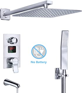 """Derpras Luxury Shower System with Temperature Display, Bathroom Shower Faucet Set with 10"""" Rain Shower Head, Handheld Shower and Tub Spout Faucet, Chrome Finish"""