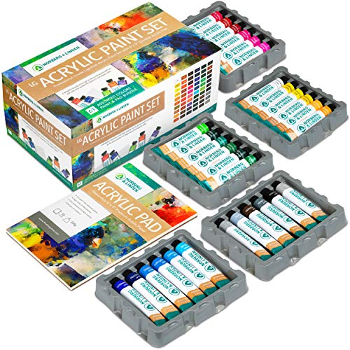 Norberg & Linden LG61 Acrylic Paint Set - 60 Color Tubes Canvas Paints with 10 Page Acrylic Practice Pad - Beginner Artist Painting Kit for Adults & Kids - Professional Quality Hobby Art Supplies