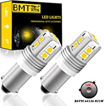 BMTxms Canbus BAY9S 64136 H21W LED Car Bulbs,3030 10SMD Chipsets Xenon White LED Bulb for Car Indicator Signal Light Backu...