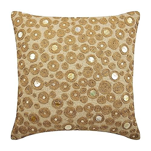 Jute Centric - Decorativa Funda de Cojin 45 x 45 cm, Square Natural Beige Algodón Lino Jute Embroidery
