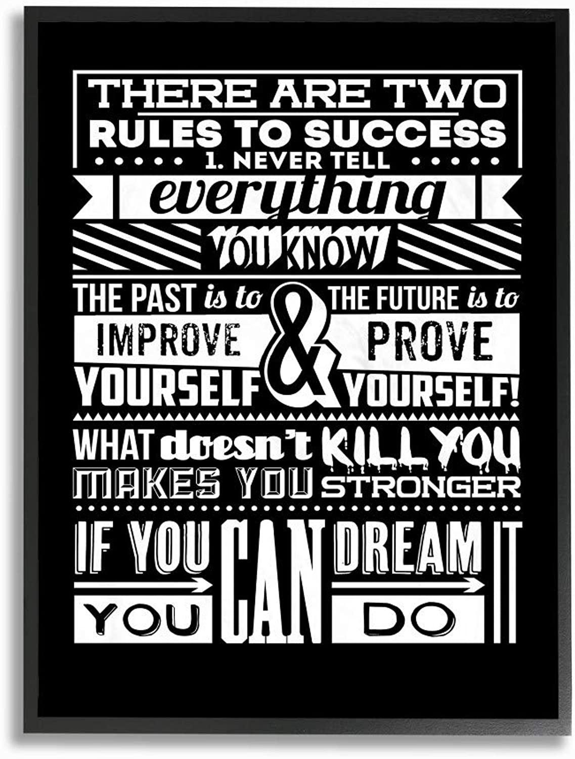 The Stupell Home Decor Collection Two Rules to Success Inspirational Framed Giclee Art, 16x20, Multicolor