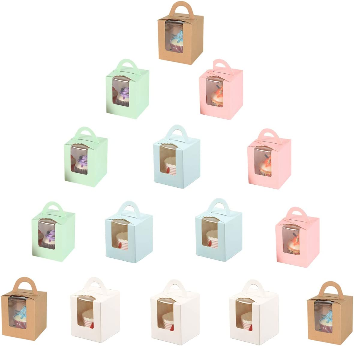 Muffin 10Pi/èces Bo/îtes /à Cupcake Bo/îtes /à G/âteaux Avec Fen/être en PET Transparente et Poign/ée Coffret C Emballage /à Emporter Boite Bo/îte DEmballage Cupcake Dessert et P/âtisserie