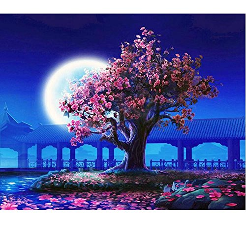 SUBERY DIY Oil Painting Paint by Numbers Kits for Adults Kids Beginner - Peach Pavilion in the evening 16x20 inches (Frameless) Color templates for easier painting