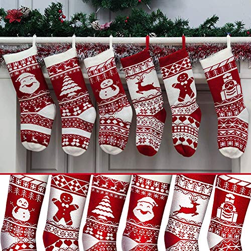 6 Pack 18' Knit Christmas Stockings, Extra Large Xmas Stockings Decoration Santa Snowman Reindeer Tree Gingerbread Solider Xmas Character for Family Holiday Christmas Tree Ornaments Fireplace(6 Style)
