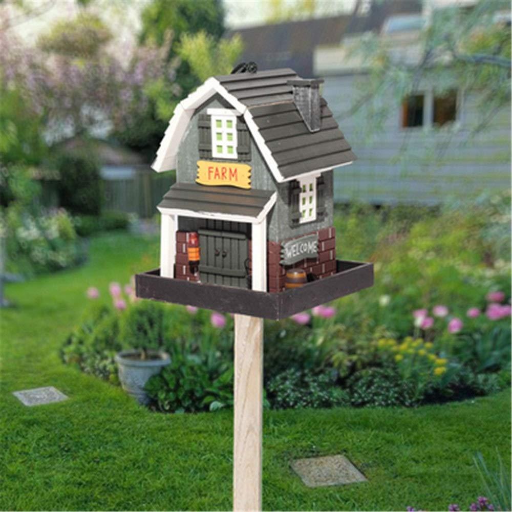 Casa del pájaro Decoración creativa Alimentador de pájaros de madera al aire libre Alimentador de pájaros al aire libre vertical Patio de la granja Jardín Cabañas Casa de pájaros for cabaña de