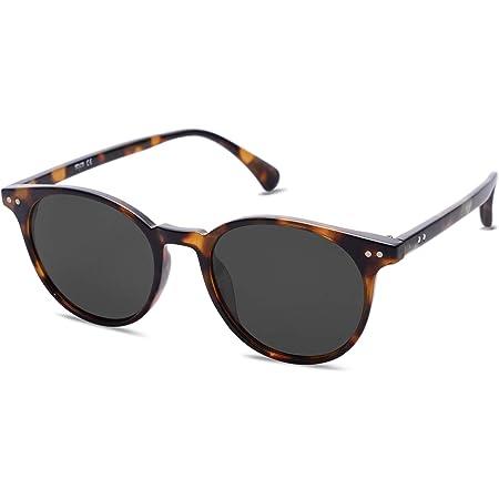 SOJOS Polarisiert Runde Sonnenbrille Damen Herren UV400 Schutz Vintage Runde Kleine für Schmales Gesicht MAY SJ2113