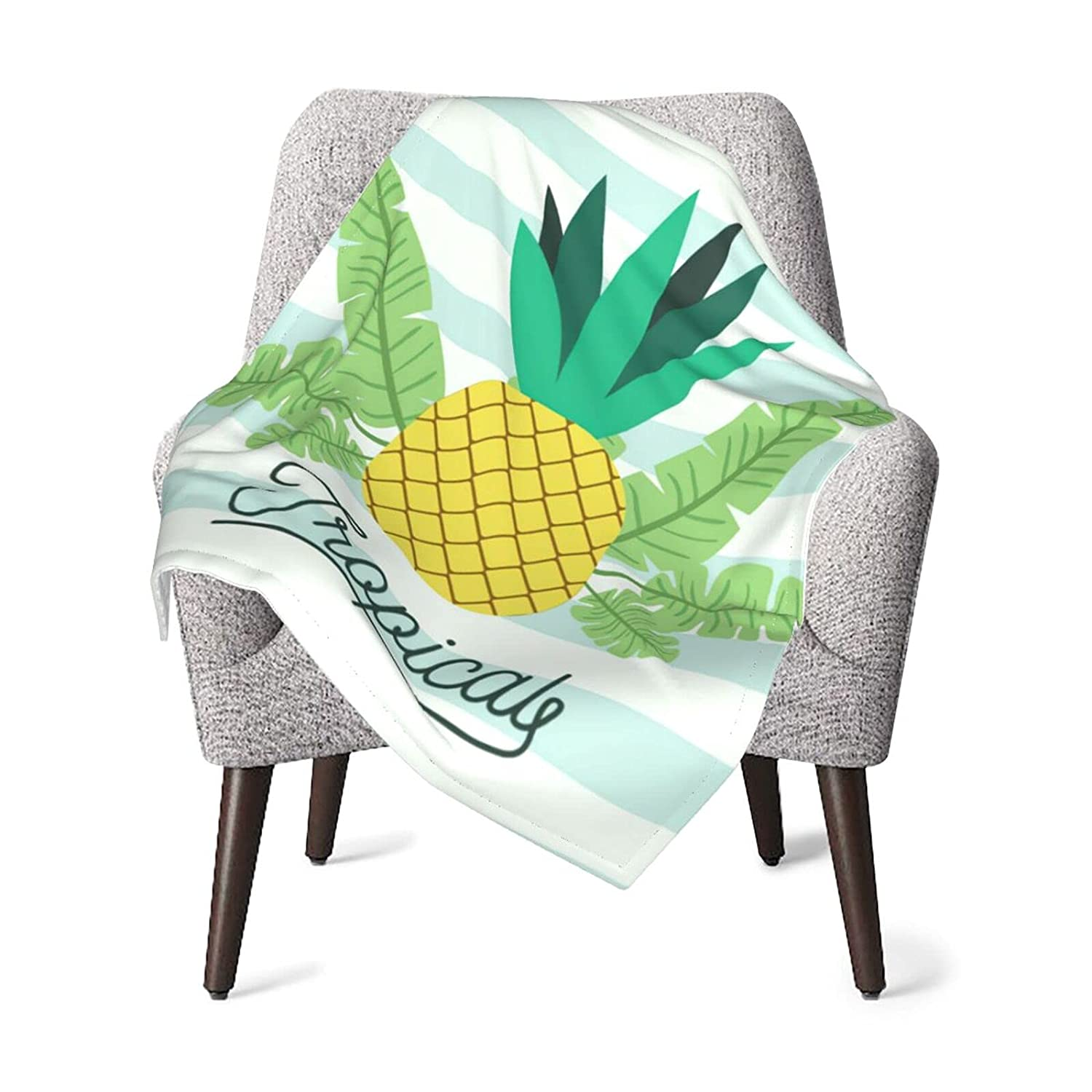 Pineapple Tropical Fruit with Leaves Baby Blanket Max 54% OFF for ...