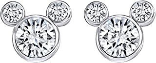Mouse Stud Earrings In 14k White Gold Over Sterling Silver