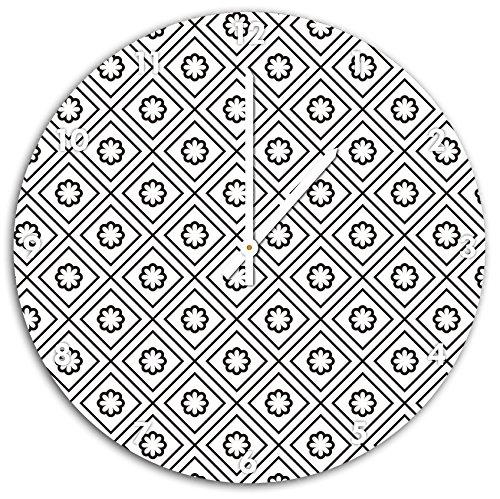 carrés de modèle et fleurs, horloge murale diamètre 48 cm avec aiguilles et cadran pointus blancs, article décoratif, horloge design, composite alu très belle pour le séjour, la chambre d'enfant, le bureau