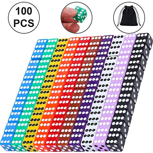 Blulu 6-Sided Games Dice Set, Colored Dice with Black Velvet Pouches for Playing Games, Like Board Games, Dice Games, Math Games, Party Favors and More (100 Pieces Rainbow Color, 16 mm)