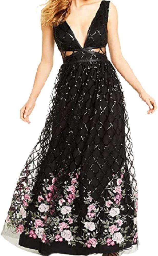 Trixxi Juniors' Embroidered-Hem Sequin Gown- Black Size 5