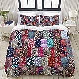 Funda nórdica, patrón de patchwork sin costuras en estilo ruso con hermosas flores, juegos de cama decorativos de 3 piezas con 1 funda de edredón y 2 fundas de almohada para adolescentes adultos