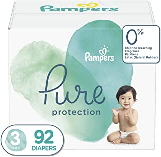 Diapers Size 3, 92 Count - Pampers Pure Disposable Baby Diapers, Hypoallergenic and Unscented Protection, Giant Pack