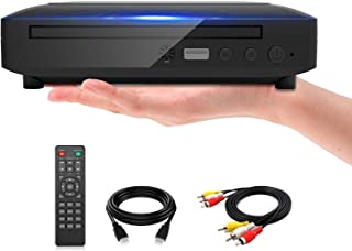 Mini DVD Player, DVD CD/Disc Player for TV with HDMI/AV Output, HDMI/AV Cables Included, HD 1080P Supported Built-in PAL/N...
