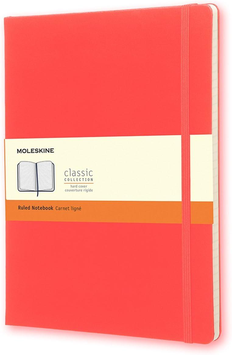 Moleskine Classic Notebook, Extra Large, Ruled, Geranium Red, Ha