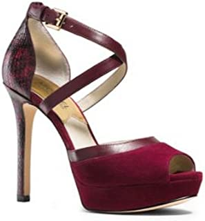 fe5a0a9e8558 Michael Kors Women s Shoes Ginny Platform Dress Pumps Suede and Embossed  Leather Merlot