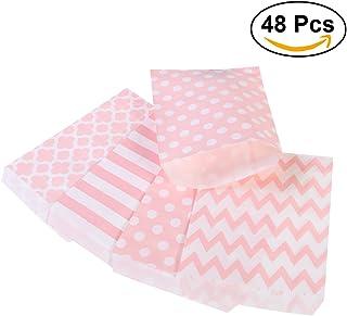 NUOLUX 48pcs bolsos rayados del regalo del papel del caramelo del lunar para el partido (color de rosa)