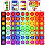MerryJoy 63PCS Push Pop Bubble Bricks Set Dimple Building Blocks Pack for Creative Play Fidget Sensory Puzzle Infinity Cube Toy for Kid Adult Gift Autism Anxiety Stress Relief