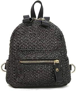 CMini mochila de paja fuerte y resistente, bolsa de playa, de verano, de crochet, bolso de mano