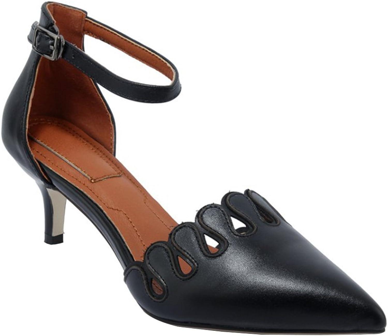 Kyle Walsh Walsh Walsh Pa Kvinnlig Mary Jane läder Ankle Strap Pumpar Stiletto Low Heel  exportutlopp