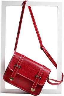 Fanspack Women Shoulder Bag Vintage Solid Color Flap Cover Crossbody Bag Satchel Purse