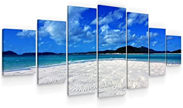 STARTONIGHT Large Canvas Wall Art - Island in The Clear Blue Ocean - Huge Home Decor - Dual View Framed Modern Artwork Set...