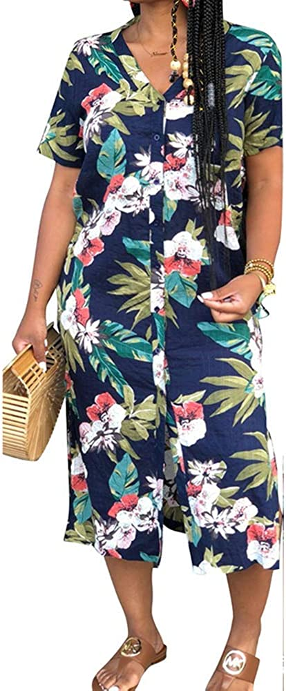OLUOLIN Womens Casual Floral Print Button Down Shirt Dress Short Sleeve V Neck Irregular Side Split Midi Dresses