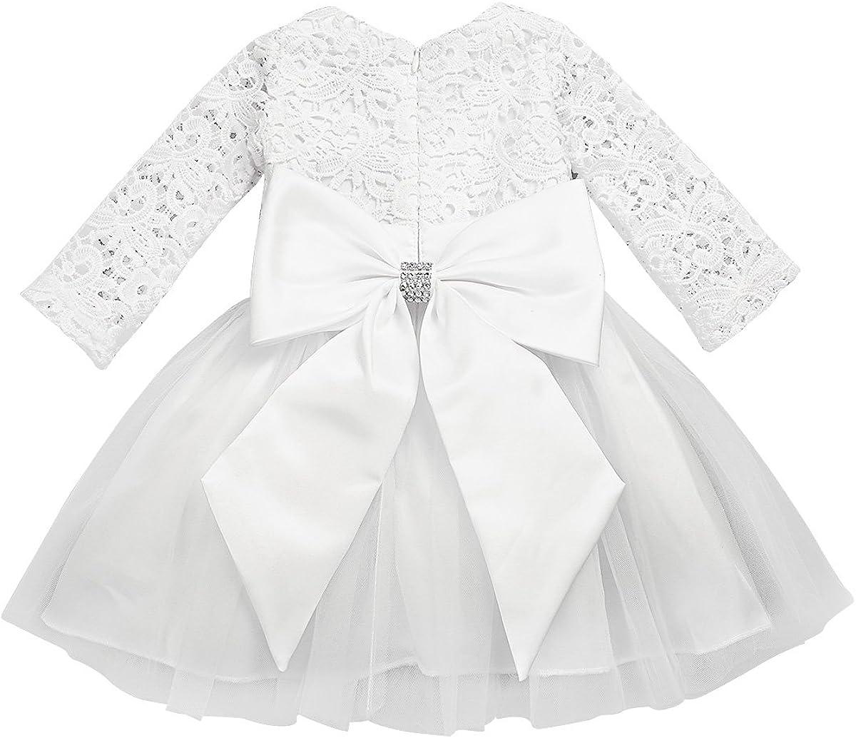 iiniim Baby Flower Girls Max 57% OFF Long Sleeve Baptism Crochet Lace Cheap super special price