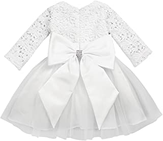 Baby Girls Long Sleeve Crochet Lace Flower Baptism Dress Big Bowknot Party Christening Gown