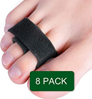 Povihome Hammer Toe Straightener Tapes, 8 Pack Toe Wraps Splint to Realign Hammer Toe, Overlapping Toe & Crooked Toes - Black