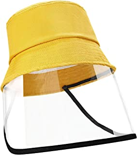 EXTSUD Fisherman Hat, Kids Protective Visor Face Hat Fishing Hat Cap with Face Shield Wide Brim Anti-Droplets Anti-dust for Full Face Outdoor Dust-Proof Yellow