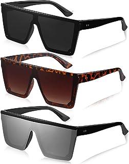 3 Pairs Oversized Flat Top Sunglasses Vintage Square Sunglasse Unisex Square Shade Sunglasses for Men Women