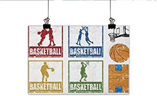 Littletonhome Basketball Living Room Decorative Painting Collection of Vintage Rubber Stamp Print Illustration Basketball Players Modern Minimalist Atmosphere 20